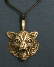 native american indian spirit pewter pendant wolf head on ajustable cord.