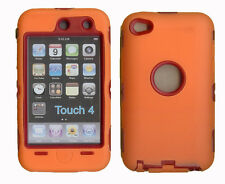 Best Protection Case / Cover for iPOD TOUCH 4 ORANGE / RED Free Stylus!!!