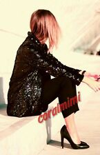 Zara BLACK GOLD SEQUIN OPEN BLAZER COAT SIZE M