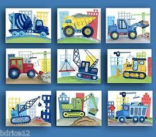 CONSTRUCTION VEHICLE CAR TRUCK BUSY BUILDER BABY BOY NURSERY WALL ART DECOR set