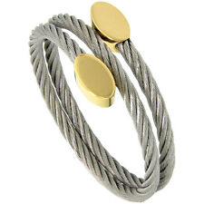 Stainless Steel 7 in. Cable Golf Bracelet w/ Oval Gold-Tone Ends