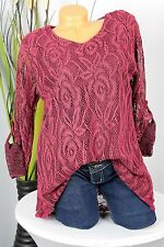 GR: 48/50 NEU SPITZEN TUNIKA,BLUSE,SHIRT, DOPPELLAGIG,TURN-UP ÄRMEL,MAROON