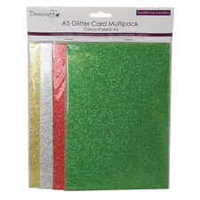 Dovecraft A5 Glitter Card Pack – Traditional Metallics Red-Green-Gold-Silver