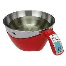Digital Kitchen Scale & Measuring Cup - Stainless Steel Easy to Clean Bowl - Red