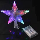 BatteryPowered Pentagram Star LED Xmas Tree Topper Fairy Light Multi Color Flash