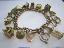** VINTAGE GOLD CURB CHARM BRACELET & 15 CHARMS with PADLOCK **