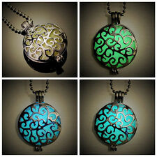 New Luminous Glow In The Dark Hollow Round Pendant Locket Necklace Jewelry Gifts