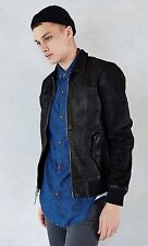 NEW URBAN OUTFITTERS YOUR NEIGHBORS BLACK WASHED LEATHER PILOT JACKET MEN'S XL