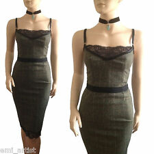 DOLCE & GABBANA D&G brown Highland overcheck tweed & lace 50s DRESS size 8 4 40