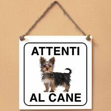 Targa piastrella cartello CANE Attenti al cane Yorkshire terrier 1