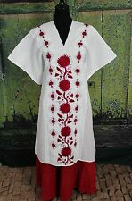 Red & White Hand Embroidered Huipil, Beach Cover, Oaxaca Mexico Hippie Boho