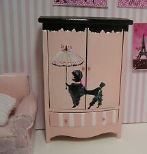 Miniature Dollhouse Furniture Biz Pink French Armoire Black Poodle hand painted