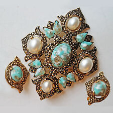 Vintage Sarah Coventry Faux Pearls & Turquoise Brooch & Earrings Set