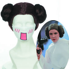 "30cm 12""Star Wars Princess Leia Organa Brown Styled Cosplay Wig Two Buns Wigs"