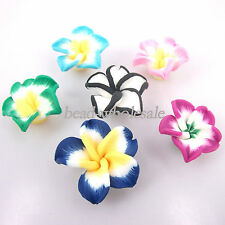 Wholesale 50pcs Mixed Color Pretty Polymer Clay lily flowers Shape Spacer Beads