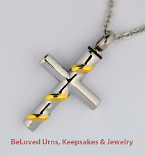 Stainless Steel Cross With Gold Ribbon Cremation Jewelry Pendant Keepsake Urn