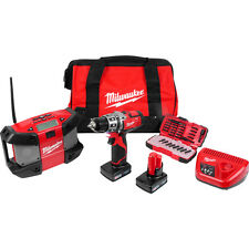 Milwaukee M12SET2C-32B 12V li-ion sans fil combi perceuse & radio twin pack 3.0AH