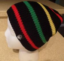 ~NEFF~ NWT One Sized Youth ~DAILY STRIPE~ Beanie Skull Ski Cap Rasta Striped