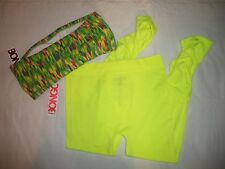 1121  Bongo Rouched Legging & Lime Green Print Bandeau Top M  Yoga Athletic Wear