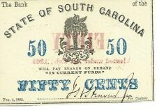 South Carolina Bank 50c 1863 current funds added Blue Red overprint Palmetto