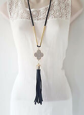 "Gorgeous 30"" black & gold tone diamante & faux leather tassel pendant necklace"