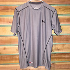 MENS GRAY UNDER ARMOUR FITTED HEAT GEAR COMPRESSION S/S ATHLETIC SHIRT M