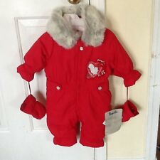 "PAMPOLINA EUROPEAN CO. $98. INFANT 12 MOS RED ""LUCKY WORLD"" BUNTING/SNOWSUIT NWT"