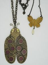 VINTAGE LUCKY BRAND DOUBLE CHAIN LG ENAMEL LADY BUG and BUTTERFLY NECKLACE
