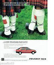 PUBLICITE ADVERTISING 046  1988  la Peugeot 309 kilt écossais