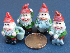 1:12 Scale Set Of Four Assorted Gnomes Dolls House Miniature Garden Accessory N