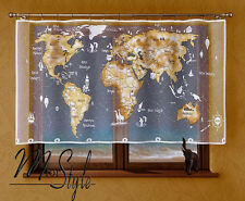 Kids Children's Net Curtain World Map  White / Beige Window Room Decoration