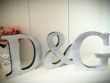 Glitter Silver Initial Letters Set Of 3 Shabby Chic Letters Signs Wedding Home