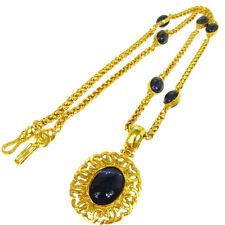 Authentic CHANEL Vintage CC Logos Stones Gold Chain Pendant Necklace V08288