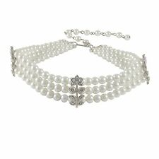 3 Row Pearls White Crystal Flowers Silver Choker Necklace