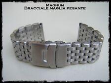 Bracciale Magnum acciaio per orologio maglia pesante regolabile 22-24mm