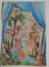 Aquarelle originale de MAURICE JEAN MICHA - 1930 - Fauve - Belgique -2