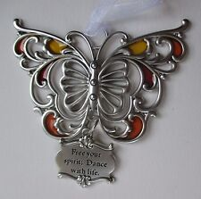 j Free your spirit dance ARTFUL BUTTERFLY ORNAMENT Ganz Car Charm stained glass