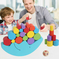 1 Pcs Wooden Balance Toy Blue Moon Building Block Learning Educational Kids Toy