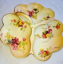 Antique Large Royal Worcester Blush Ivory Hors'd'oerfs Dish 10.5 Inches