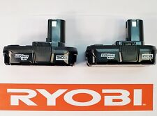 (2) RYOBI ONE PLUS 18v VOLT COMPACT LITHIUM-ION BATTERY PACKS BATTERIES P102