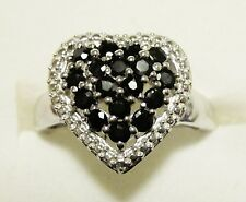 Black Sapphire Heart Ring in 925 Sterling Silver size 8