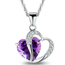 925 Sterling Silver Plated Amethyst & Crystal Heart Necklace/Pendant15.5 inch