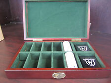 The PRESIDENT'S CUP ALL WOOD FINISH LARGE Poker Chip Case W/ 2 Card Decks NEW