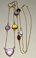 """VINTAGE 14K Yellow Gold Necklace With Multi-Shaped Fancy Cut Gemstones 32"""" Look!"""