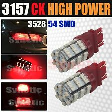 2x 3157 SRCK Socket 54 SMD Red Brake Tail / Parking Turn Signal LED Light Bulbs