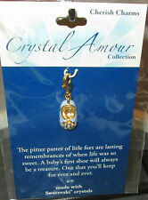 Crystal Amour Collection-Swarovski Blue Crystals Shoe Charm GoldTone Blue Shoe