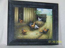 Original Oil Painting On Canvas Barn Yard Animals Painting Listed Artist H. King