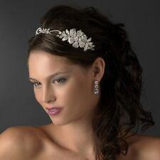 Silver Side Accent Flower Rhinestone & Austrian Crystal Bridal Prom Headband
