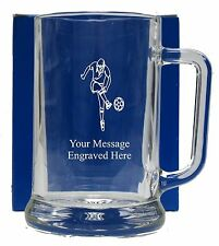 Personalised Football Pint  Glass Tankard  Birthday Free Gift Box GT15