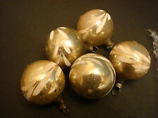5 small glass Feather Tree Christmas Ornaments, Germany, Gold w painted design